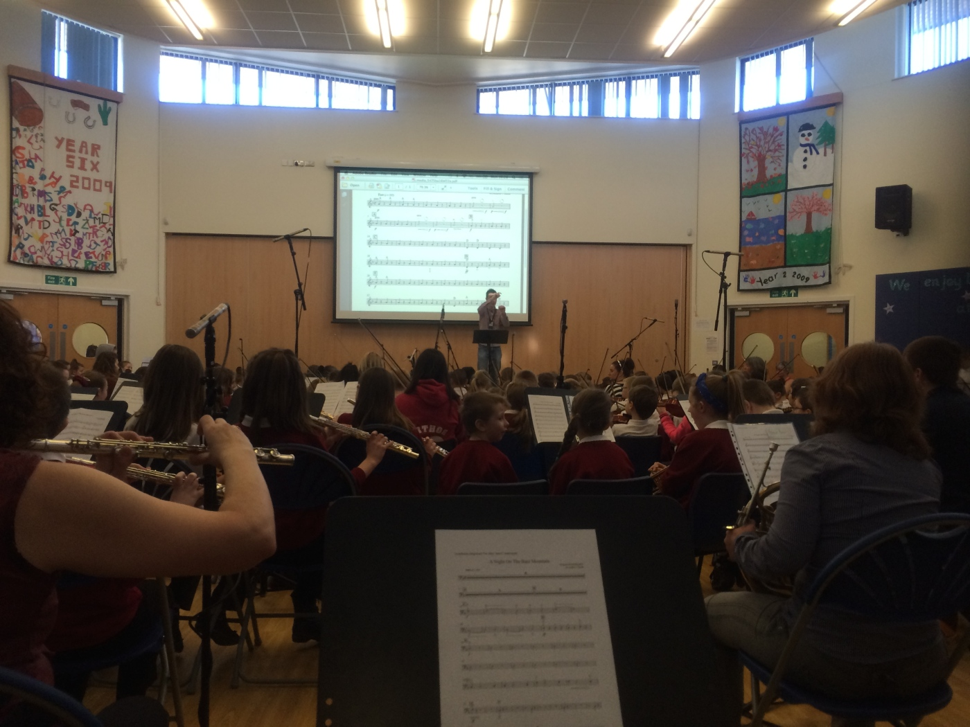 Recording session with Old Park Primary School orchestras